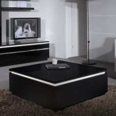 Elisa Coffee Table Square In Gloss Black With Storage