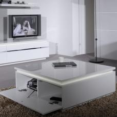 Elisa Coffee Table Square In High Gloss White With Storage