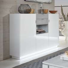 Elle Highboard In White Stone Grey With High Gloss Front And LED