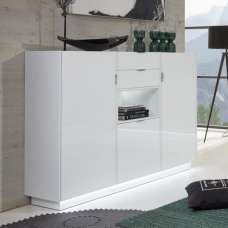 Elle Highboard In White With High Gloss Fronts And LED Lighting