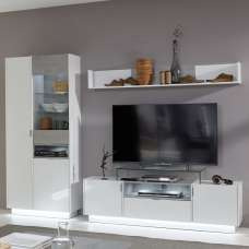 Elle Living Room Set White Stone Grey And High Gloss Fronts LED