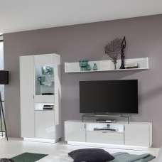 Elle Living Room Set In White With High Gloss Fronts And LED