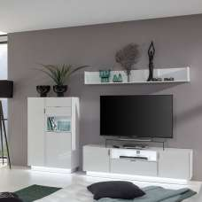 Elle Living Room Set 1 White With High Gloss Fronts And LED