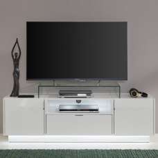 Elle TV Stand In White With High Gloss Fronts With LED