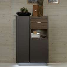 Elle Storage Cabinet In Terra Grey And Monastary Oak With LED