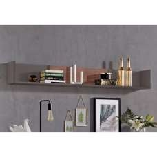 Elle Wall Mounted Display Shelf In Terra Grey And Monastary oak