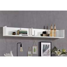 Elle Wall Mounted Display Shelf In White With High Gloss Fronts