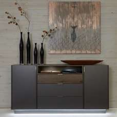 Elle Sideboard Wide In Terra Grey And Monastary Oak With LED