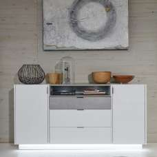 Elle Sideboard Wide White Stone Grey And High Gloss Fronts LED
