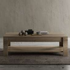 Ellie Wooden Coffee Table In Canyon Oak With Undershelf