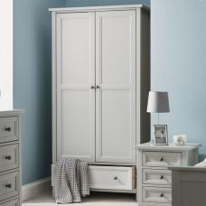 Ellie Wooden Wardrobe In Dove Grey Lacquered