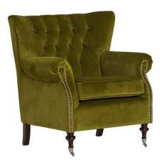 Elmore Modern Accent Chair In Green Velvet Moss