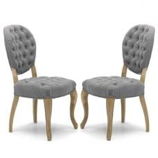 Elsa Fabric Dining Chair In Grey Linen And Walnut Legs In A Pair