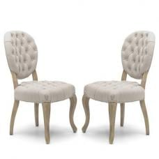 Elsa Fabric Dining Chair In Natural And Washed Legs In A Pair