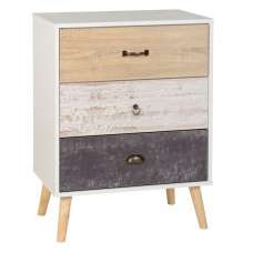 Elston Chest Of Drawers In White And Distressed Effect