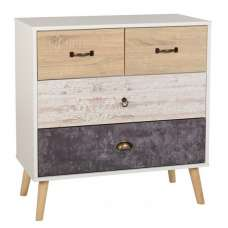 Elston Wide Chest Of Drawers In White And Distressed Effect