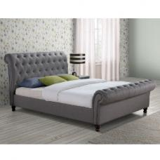Elton Fabric Bed In Grey With Dark Wooden Feet