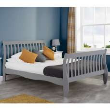 Emberly Wooden Double Bed In Grey
