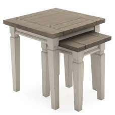 Emery Wooden Nest of Tables Square In Antique White