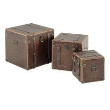 Eminem Set of 3 Storage Trunks In Brass Copper And Wood