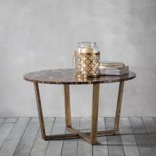 Emphora Marble Round Coffee Table With Metal Base