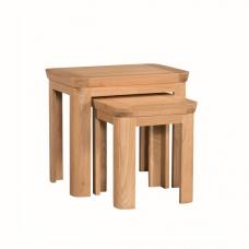 Empire Wooden Nest Of Tables In Solid Oak And Veneer