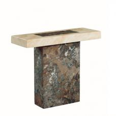 Encore Marble Console Table Rectangular In Dark Brown And Cream