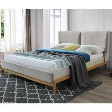 Energy Fabric King Size Bed In Coffee With Wooden Frame