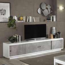 Enox Large TV Stand In Marble Effect And White High Gloss