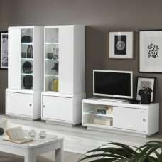 Enox Living Room Set 1 In White High Gloss With LED