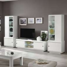 Enox Living Room Set 2 In White High Gloss With LED
