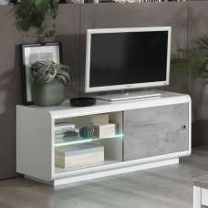 Enox Small TV Stand In Marble Effect White High Gloss With LED