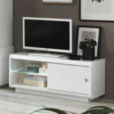 Enox Small TV Stand In White High Gloss With LED