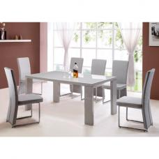 Genisimo High Gloss Dining Table With 6 Grey Koln Chairs