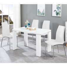 Enzo Glass Dining Table Small In White Gloss With 4 Opal Chairs