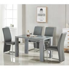 Enzo Glass Dining Table Small In Grey Gloss With 4 Ebony Chairs