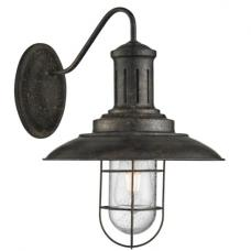 Eos Fisherman Wall Light In Black Gold With Caged Shade