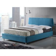 Epsom Modern Bed In Blue Fabric With Chrome Feet
