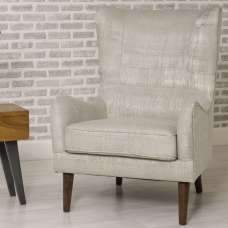 Erwan Fabric Sofa Chair In Cream With Wooden Legs
