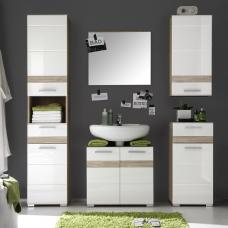 Eterno Bathroom Furniture Set In Oak And White High Gloss