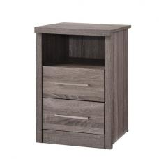 Evelyn Bedside Cabinet In Grey Wood Grains With 2 Drawers