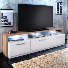 Event Wooden TV Stand In Rough Sawn Oak And White With LED