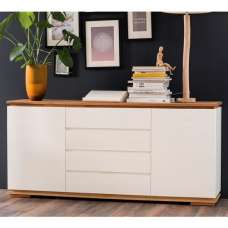 Everly Sideboard In Matt White Lacquered And Oak With 2 Doors