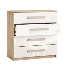 Evita Chest of Drawers In Brushed Oak And White High Gloss