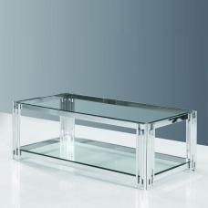 Evoke Glass Coffee Table In Clear With Polished Steel Frame