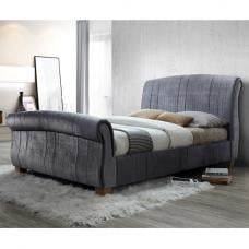Waverly Sleigh King Size Bed In Grey Velvet With Wooden Legs