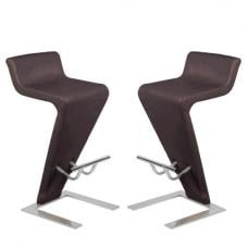 Farello Bar Stools In Dark Brown Faux Leather In A Pair