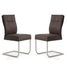 Farren Cantilever Dining Chair In Anthracite PU In A Pair