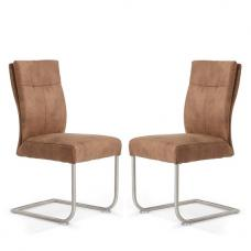 Farren Cantilever Dining Chair In Brown Faux Leather In A Pair