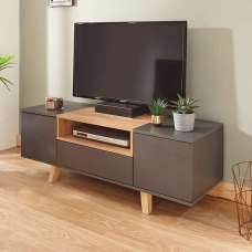 Farrow TV Stand In Grey And Oak Effect With 2 Doors